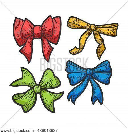 Gift Bow Ribbon Color Set Sketch Engraving Vector Illustration. T-shirt Apparel Print Design. Scratc