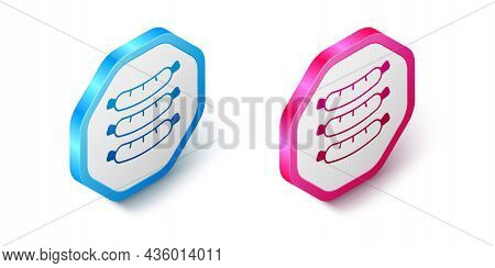 Isometric Sausage Icon Isolated On White Background. Grilled Sausage And Aroma Sign. Hexagon Button.