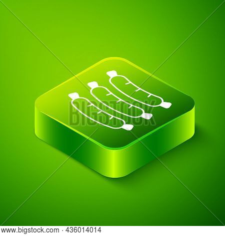 Isometric Sausage Icon Isolated On Green Background. Grilled Sausage And Aroma Sign. Green Square Bu
