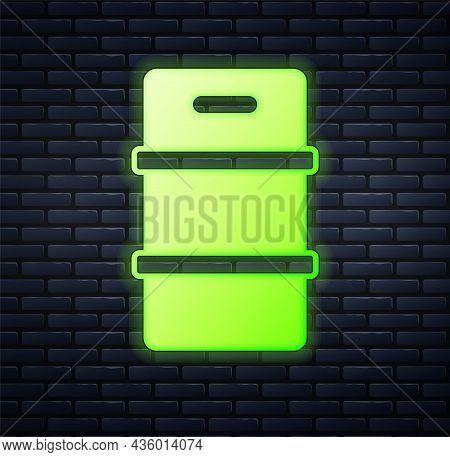 Glowing Neon Metal Beer Keg Icon Isolated On Brick Wall Background. Vector