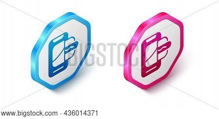 Isometric Food Ordering On Mobile Icon Isolated On White Background. Order By Mobile Phone. Restaura