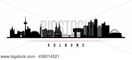 Cologne Skyline Horizontal Banner. Black And White Silhouette Of Cologne, Germany. Vector Template F