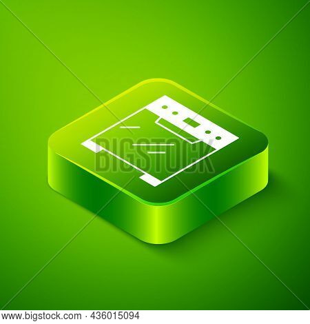 Isometric Oven Icon Isolated On Green Background. Stove Gas Oven Sign. Green Square Button. Vector