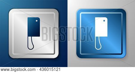 White Meat Chopper Icon Isolated On Blue And Grey Background. Kitchen Knife For Meat. Butcher Knife.