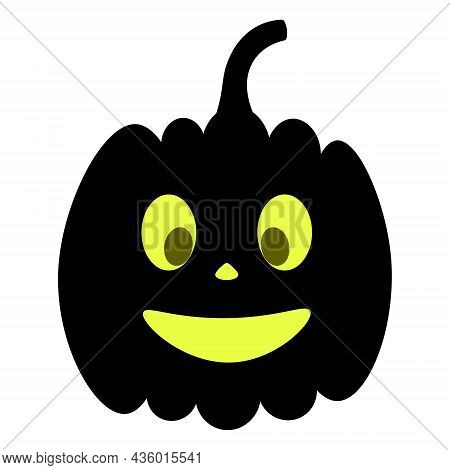 Pumpkin. Silhouette. Smiling Facial Expression. Vector Illustration. Isolated White Background. Hall