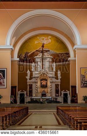 Shkoder, Albania - June 21, 2021: Interior Of St. Stephen's Catholic Church In Shkoder, Vertical. Te
