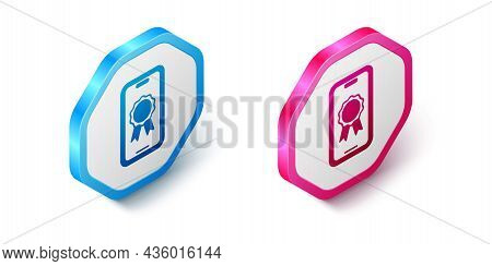 Isometric Online Education With Diploma Icon Isolated On White Background. Diploma Online At Home. W