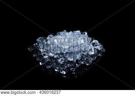 Ice Crystal Cubes On A Black Background, Space For Text Or Design.