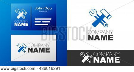 Logotype Crossed Hammer And Wrench Spanner Icon Isolated On White Background. Hardware Tools. Logo D