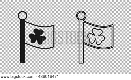Black National Ireland Flag With Clover Trefoil Leaf Icon Isolated On Transparent Background. Happy
