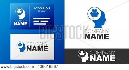 Logotype Human Head With Clover Trefoil Leaf Icon Isolated On White Background. Happy Saint Patricks
