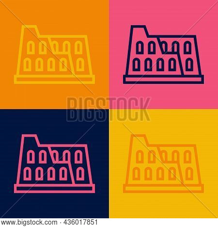 Pop Art Line Coliseum In Rome, Italy Icon Isolated On Color Background. Colosseum Sign. Symbol Of An