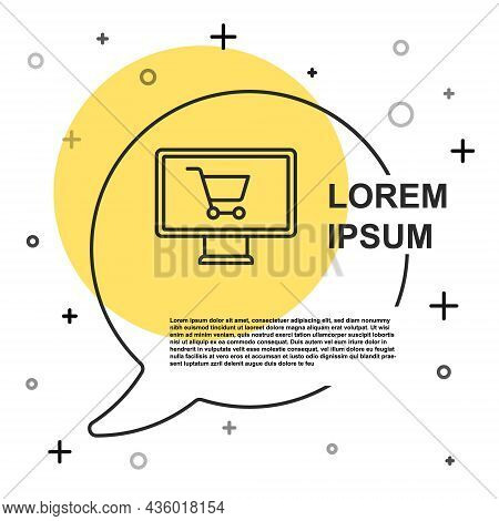 Black Line Shopping Cart On Monitor Icon Isolated On White Background. Concept E-commerce, E-busines