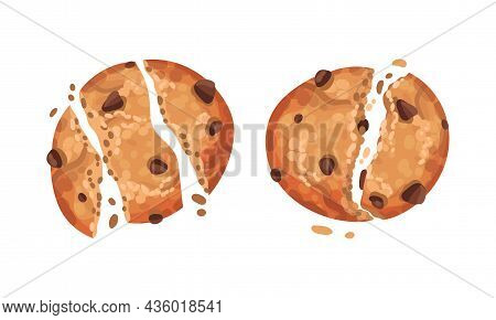 Broken Crispy Biscuits Set. Oatmeal Cookies With Chocolate Chips Vector Illustration