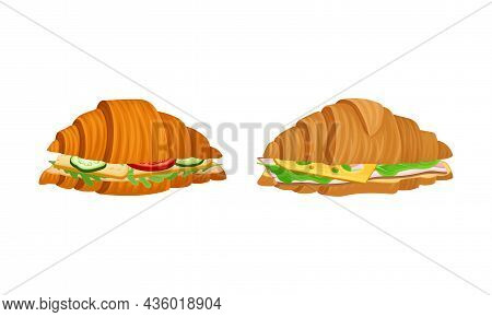 Crunchy Croissants With Various Ingredients Set. French Croissant With Ham, Cucumber, Cheese, Tomato