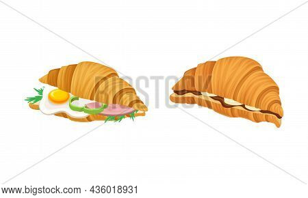 Crunchy Croissants With Various Ingredients Set. French Croissant With , Ham, , Cheese, Egg, Chocola