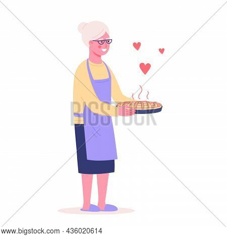 Happy Grandmother With Hot Pie. Grandmother In Glasses, Apron. Baking, Pies. Cooking. Isolated, Whit