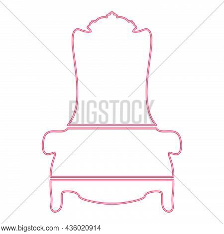 Neon Throne Red Color Vector Illustration Flat Style Light Image