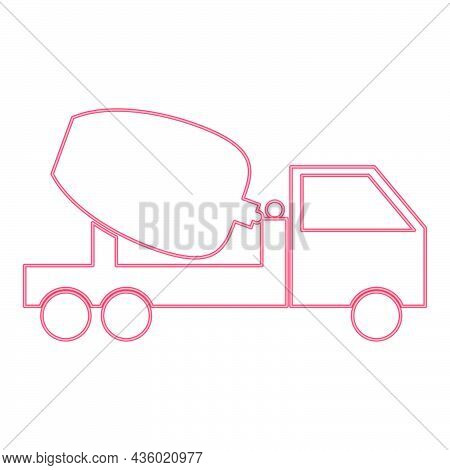 Neon Cement Mixers Truck Red Color Vector Illustration Flat Style Light Image