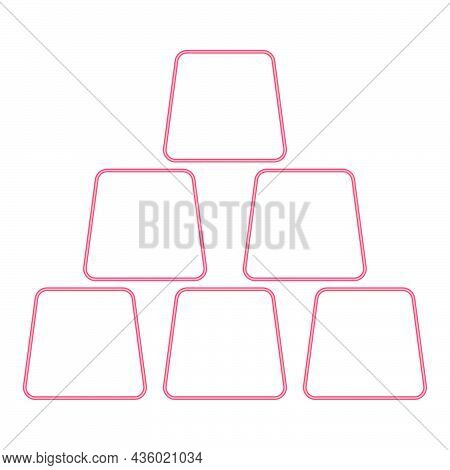 Neon Gold Bar Red Color Vector Illustration Flat Style Light Image