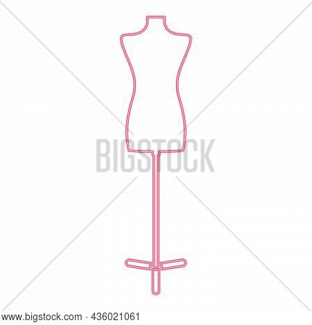 Neon Fashion Stand Female Torso Mannequin Red Color Vector Illustration Flat Style Light Image