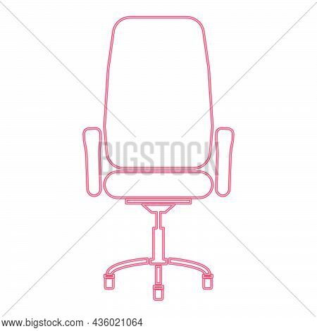 Neon Office Chair Red Color Vector Illustration Flat Style Light Image