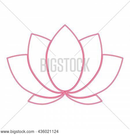 Neon Lotus Red Color Vector Illustration Flat Style Light Image