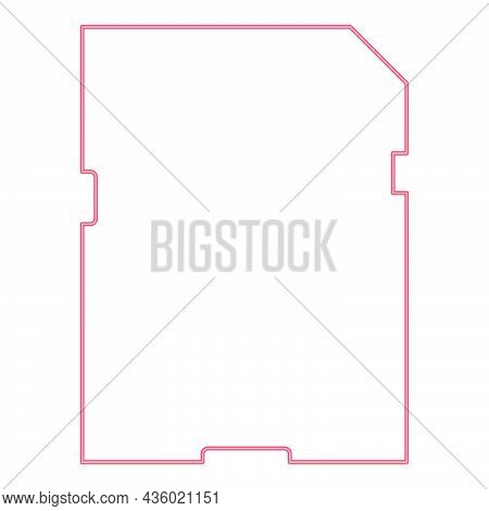 Neon Memory Card Red Color Vector Illustration Flat Style Light Image