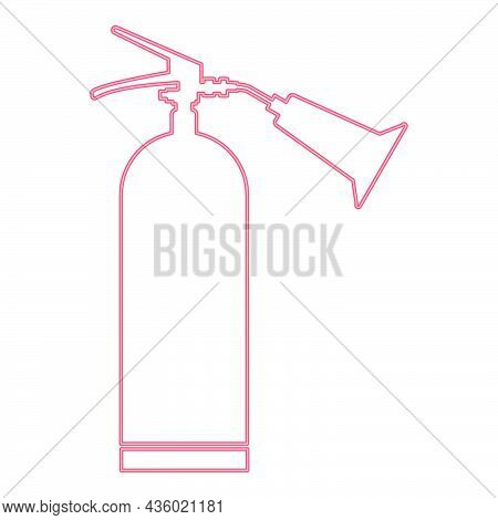 Neon Fire Extinguisher Red Color Vector Illustration Flat Style Light Image
