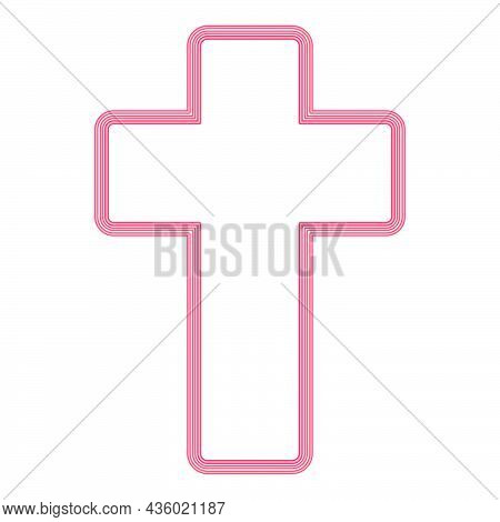 Neon Church Cross Red Color Vector Illustration Flat Style Light Image