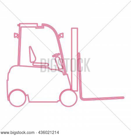 Neon Electric Loader Red Color Vector Illustration Flat Style Light Image
