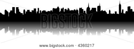 New York skyline with a reflection on background poster
