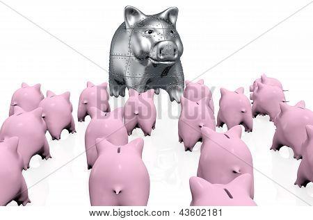A Crowd Of Pink Piggy Banks Meet A Stranger