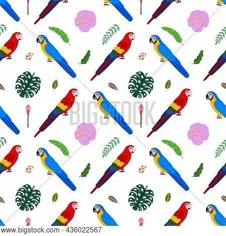 Seamless Pattern With Macaw Parrots Ara, Tropical Leaves And Flowers. Cute Baby Print For Fabric And