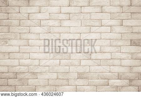 Cream And White Brick Wall Texture Background. Brickwork And Stonework Flooring Interior Rock Old Pa