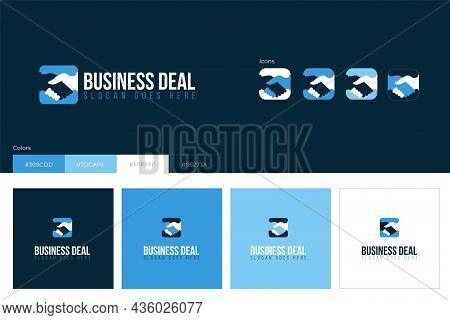 Business Shake Hands Logo Concept Design. Vector Illustration.