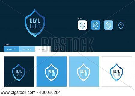 Business Shake Hands Logo Concept Design With Shield. Vector Illustration.