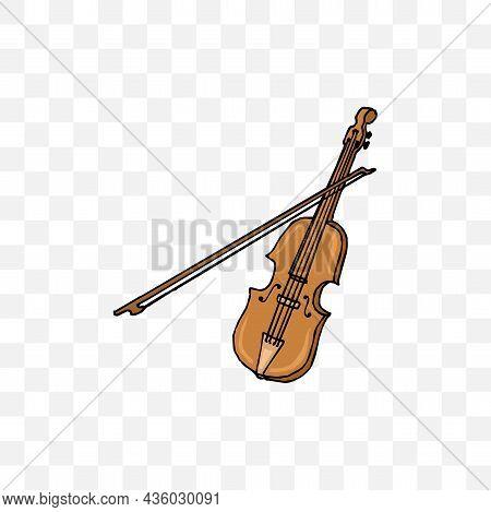 Violin Clipart Vector Illustration On White Background