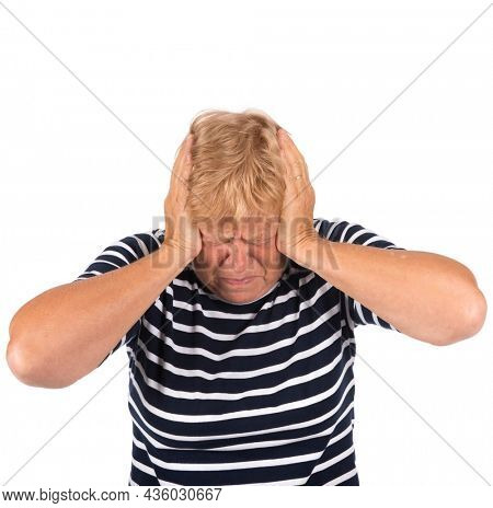 Portrait blonde senior woman with noise disturbance on white background