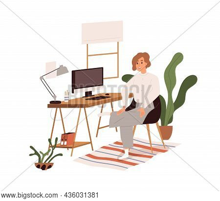 End Of Work Day With Computer Concept. Happy Smiling Worker At Workplace At Home Office With Busines