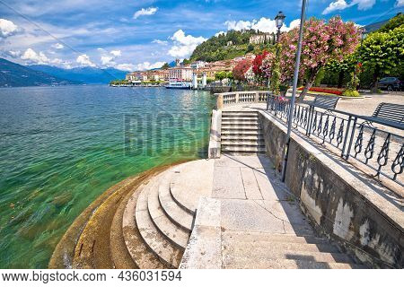 Town Of Belaggio Lungolago Europa Lakefront Walkway View, Como Lake, Lombardy Region Of Italy