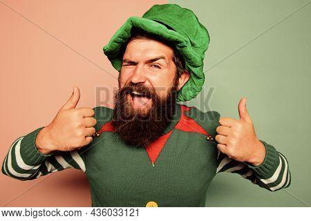 Christmas Elf. Elf Concept. Happy Celebration. Bearded Elf. Winter Carnival. Best Day Ever. St Patri