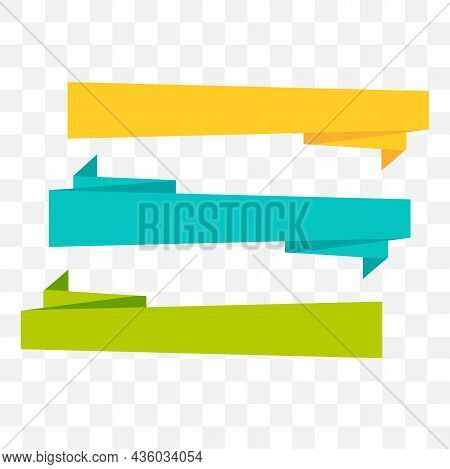Ribbon Vector Illustration Set. Yellow Blue Green Ribbon Vector Illustration.