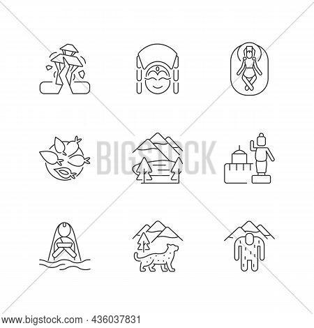 Culture Of Nepal Linear Icons Set. Trekking Destination. Earthquake. Religious Sites. Nepalese Festi