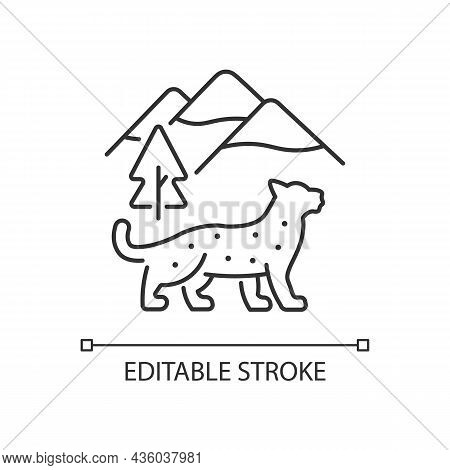 Snow Leopard Linear Icon. Wild Animal Living In Nepal. Himalayan Predator. Endangered Species. Thin