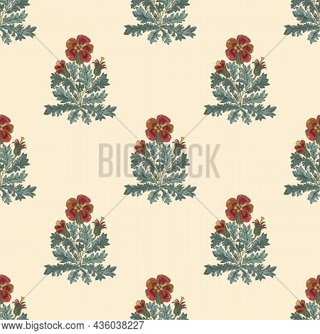 Pelargonium Floral Bouquet Vector Pattern Background. Historical Style Backdrop With Hand Drawn Pain
