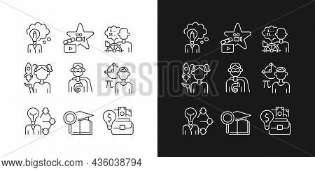Vocation Linear Icons Set For Dark And Light Mode. Professional Abilities. Thin Line Contour Symbols