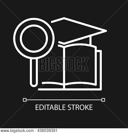 Academic Research Talent White Linear Icon For Dark Theme. Study And Investigation. Cognitive Skill.