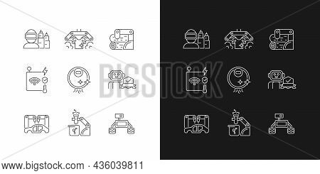 Automation Technologies Linear Icons Set For Dark And Light Mode. Manufacturing Robots. Automated La