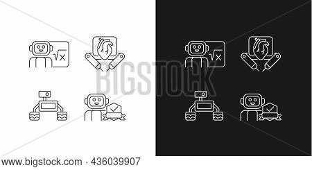 Robotics Technology Linear Icons Set For Dark And Light Mode. Surgical Robot. Robotic Vehicle. Home